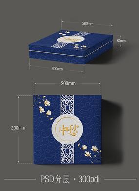 蓝色月饼盒设计