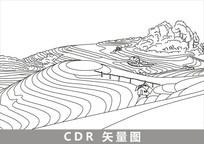 龙胜梯田线描插画