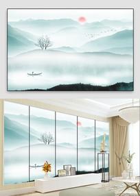 水墨山水画背景墙