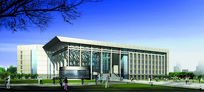 图书馆建筑设计透视图