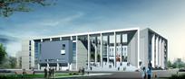 图书馆建筑外观效果 JPG