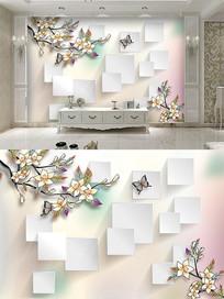 现代方格手绘花背景墙