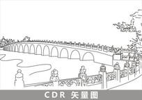 颐和园十七孔桥线描插画 CDR