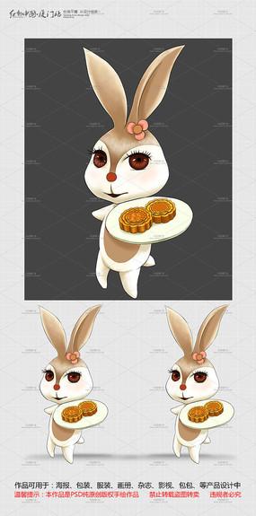 原创手绘中秋节玉兔和月饼设计