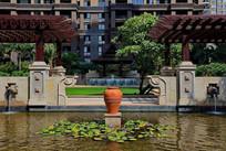 住宅欧式水景廊架