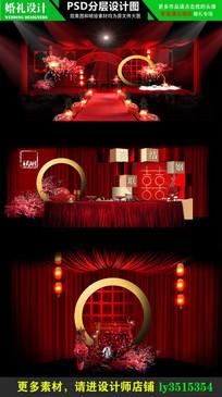传统大红色中式婚礼设计效果图