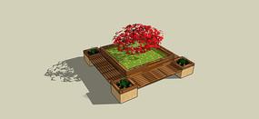 矩形木贴面树池坐凳模型 skp