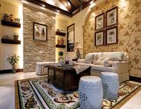 欧式田园风格客厅设计 JPG