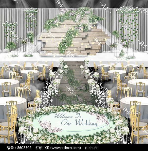 清新木纹韩式森系婚礼效果图图片