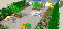 室外坐凳组合模型 skp