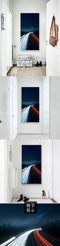 创意线条光线风景玄关装饰画