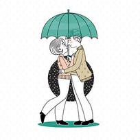 打着雨伞相会的七夕情侣插画