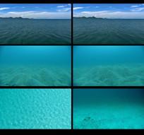 航拍海面到海底视频