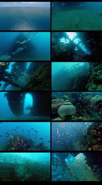 航拍海面到海底视频素材
