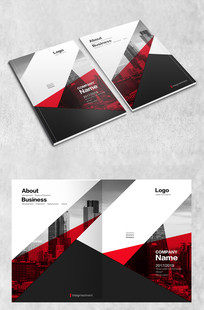 红黑拼块时尚商务画册封面