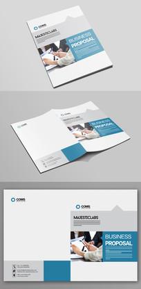 蓝色企业文化宣传画册封面模板