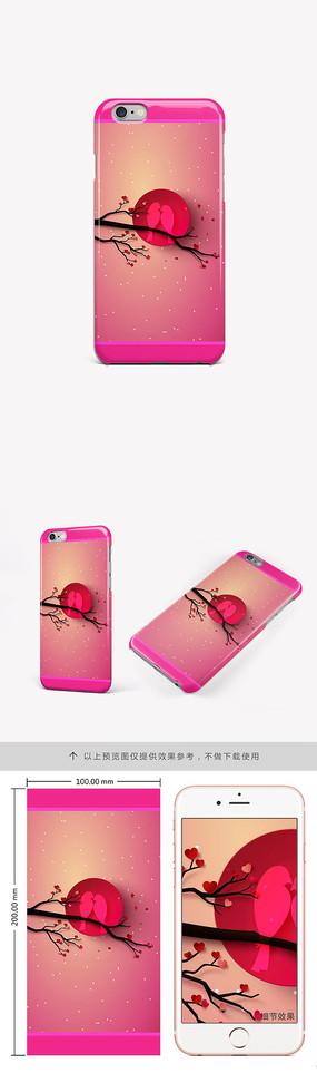 唯美浪漫偎依喜鹊手机壳图案