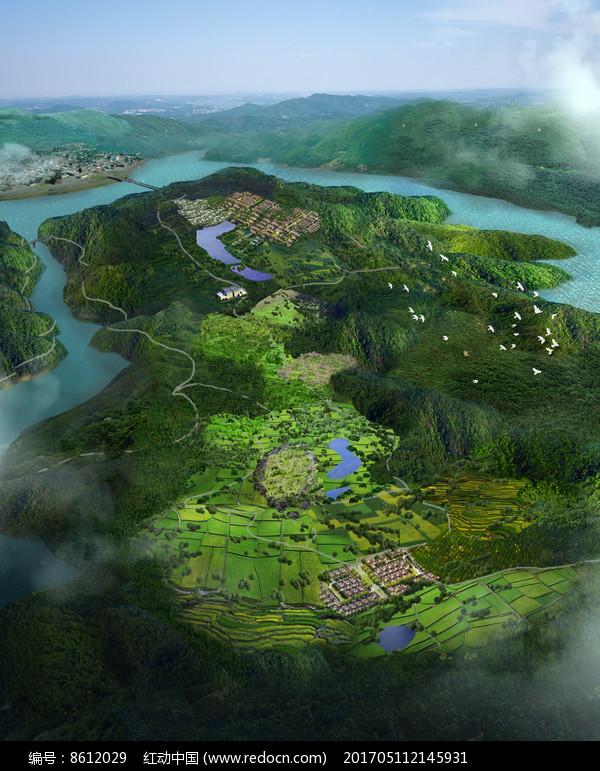 乡村旅游景区规划鸟瞰图图片