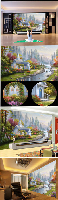 高清欧式流水别墅风景油画