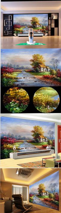高清意境小桥流水风景油画