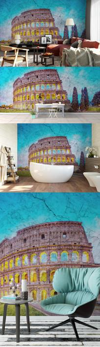 建筑风景大理石纹理背景墙