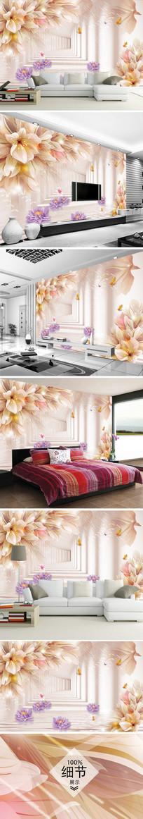 梦幻花朵花卉3D电视背景墙