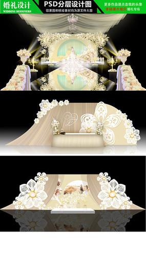 香槟色花朵唯美婚礼设计效果图