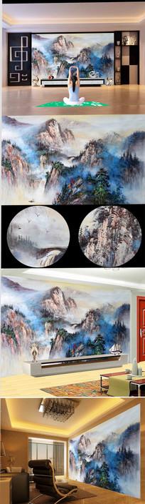 新中式高山云雾蓝色油画 TIF