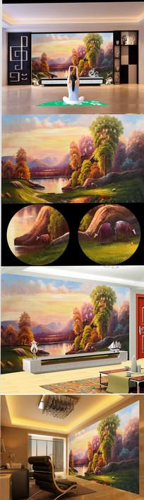 新中式流水生财风景油画