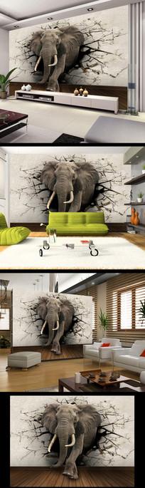 3D壁画大象壁画电视墙背景墙