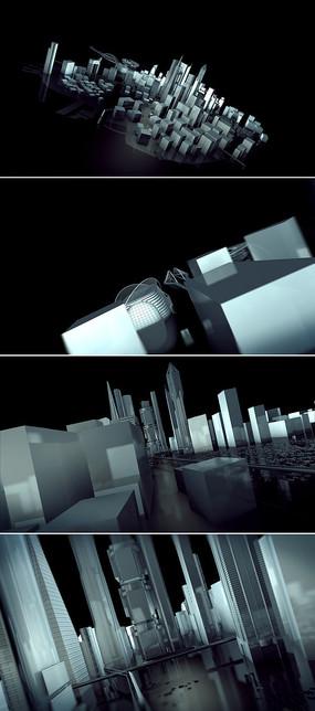 3D城市建筑标志展示视频模板