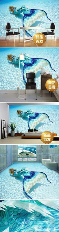 3D海底世界美人鱼电视背景墙
