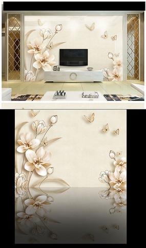 3D立体百合花玉兰花背景墙