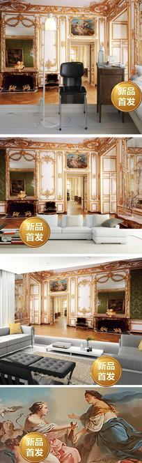 3D欧式空间扩展壁画背景墙