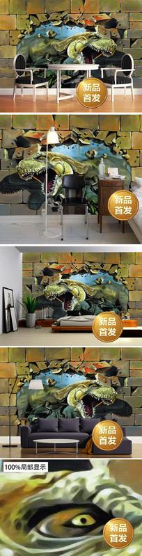 3D手绘破墙而出恐龙背景墙