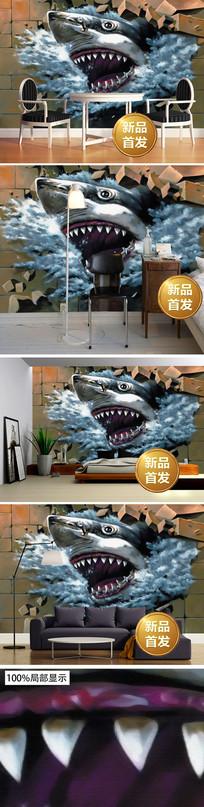 3d立体鲨鱼手绘壁画背景墙