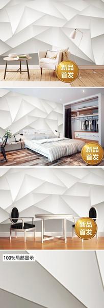 白色几何图形3D背景墙