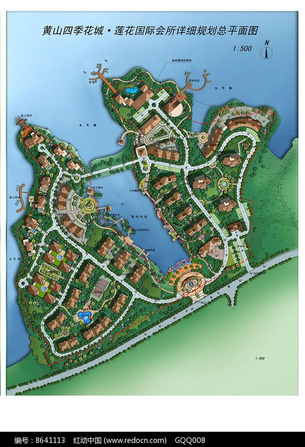 滨水住宅区景观规划彩平图片