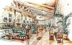 餐厅马克笔手绘效果图 JPG