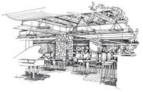 餐厅设计手绘线稿 JPG
