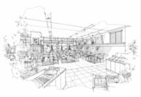 餐厅透视图手绘线稿 JPG