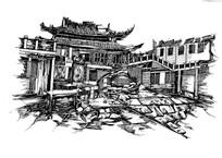 传统中式建筑速写