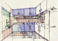 厨房设计手绘效果图 JPG