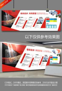 大气红色企业文化墙宣传栏 CDR