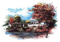 度假山庄秋季景观效果图