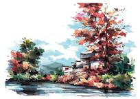 古镇秋季景观手绘效果图