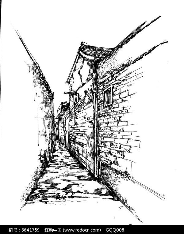 古镇小巷速写图片