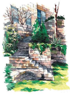 建筑台阶手绘效果图