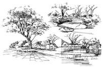 景观小场景手绘线稿
