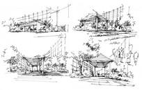 景亭廊架手绘草图